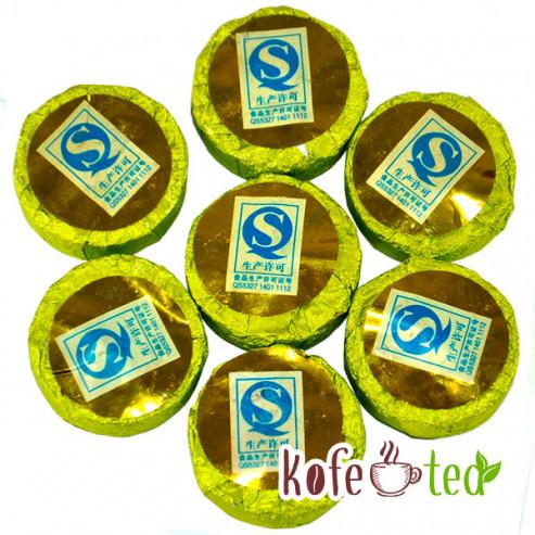 Шен Пуэр Зелёный медальон мини то ча